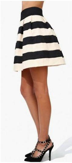 Black & White Contrast Striped Skirt