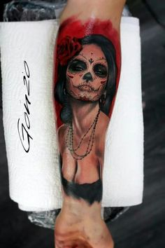 #tattoo #tattoos #tattooed #tatt #tatts #ink #inked #ES13 #elektrischer #stuhl #hallesaale #grh13 #lacatrina #realistic #portrait