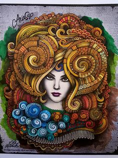 Aries coloured with Chameleon pens by Wendy Vernon