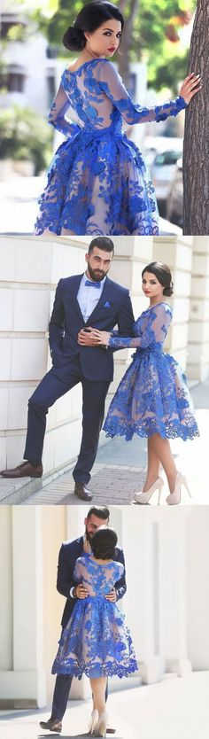 Royal Blue Cocktail Dress,Knee Length Lace Appliques Prom Dress,Scoop Neckline Homecoming Dress,A Line Party Dress,