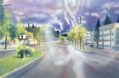 petri_hytonen_smokecity_slider Watercolours, Petra, Sliders, Painting, Art, Art Background, Painting Art, Kunst, Paintings