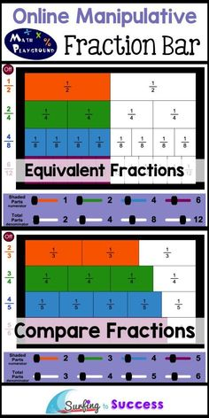 4 Online Fraction Manipulatives Math Playground Fraction Bar Fraction manipulatives make fractions concrete. Teachers can use these on smart boards. Students can use these on computers, iPads, or chromebooks. Math Manipulatives, Math Fractions, Numeracy, 3rd Grade Fractions, Teaching Fractions, Multiplication, Fraction Bars, Learn Math Online, Eureka Math