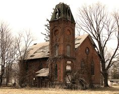 Old Church in Vandalia, Michigan, torn down/ property cleared in 2013. So sad that beautiful architecture is being lost. Photography by Monte Hershberger, Granger, Indiana