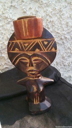 Diosa fertilidad talla madera africana ashanti candelabro ritual