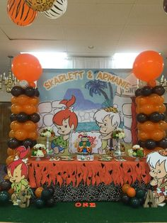 Flintstones Pebbles Theme Jointed Table Banner Happy Birthday Party Decoration