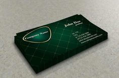 Stylish green business card template with gold elements. This template is available for free download as vector (Ai) file.