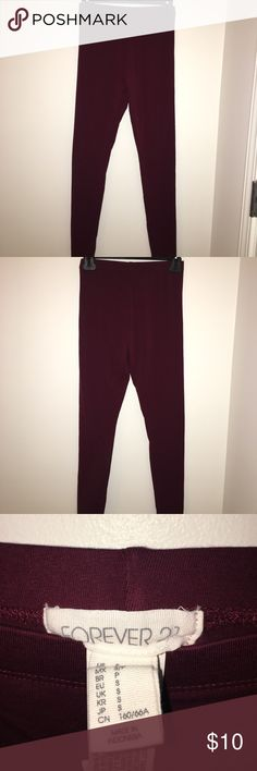 Burgundy Forever21 Leggings These Forever 21 leggings are a size small. They have never been worn before. Feel free to ask any questions!!! Forever 21 Pants Leggings