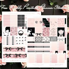 Free Blush & Black printable spread for the Erin Condren & Recollections Planner - Planner Onelove