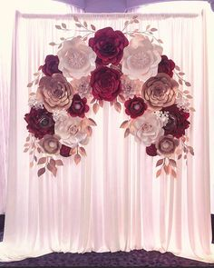 Burgundy, gold and cream Ottawa Ontario Elegant Engagement paper flower backdrop! Burgundy, gold and cream Ottawa Ontario Quince Decorations, Quinceanera Decorations, Wedding Decorations, Engagement Decorations, Engagement Ideas, Trendy Wedding, Diy Wedding, Wedding Flowers, Dream Wedding