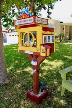"This #LittleFreeLibrary is charter 105077! Steward Paul C. says, ""My 10-year old daughter Bailey asked for a tool set and free library plans for Christmas. We've been reading together every day since her birth and she is a voracious reader. We are also fervent film buffs. The pandemic gave us time to build our library together. She designed it herself and wanted to add elements such as a dog hook, ticket taker, Quote of the Day board, and mini movie posters that are actually book covers."" Little Free Library Plans, Little Free Libraries, Little Library, Books For Tweens, 10 Year Old Girl, Library Books, Free Books, The Neighbourhood, Creative"
