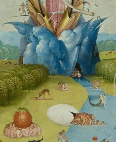 "mountain detail from the left panel of the triptych ""The Garden of Earthly Delights"", oil on oak, by Hieronymus Bosch, dating from between 1490 and Hieronymus Bosch Paintings, Robert Campin, Arte Tribal, Garden Of Earthly Delights, Renaissance Artists, Dutch Painters, Arte Popular, Magritte, Surreal Art"