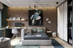 Elegant scandinavian style home with green decor one room in Futuristisches Design, Loft Design, Design Styles, Design Ideas, Scandinavian Style Home, Nordic Style, Kids Room Design, Small Apartments, New Room