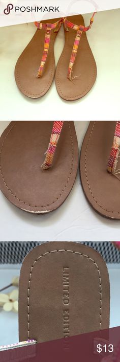 Limited Edition T-Strap Sandals Never Worn. Small scuff on right toe shown in 2nd photo. Plaid Pattern. Size 9 Limited Edition Shoes Sandals