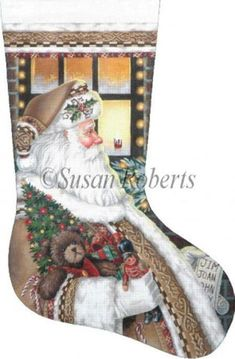 NeedlepointUS - World-class Needlepoint - Santa on the Job - 13 Count Hand Painted Needlepoint Stocking Canvas, Christmas Needlepoint, AXS377-13