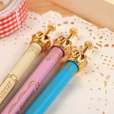 cute gold grown mechanical pencil, comes in styles shown and takes mm lead Crown Decor, Metal Crown, Cute Stationary, Pencil Writing, Mechanical Pencils, Office And School Supplies, Lace Flowers, Ballpoint Pen, Etiquette