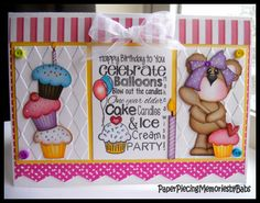 Birthday Baking Bear card created by PAPER PIECING MEMORIES BY BABS. Pattern by KaDoodle Bug Designs and stamped sentiment by Craftin Desert Divas.
