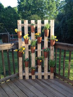 Pallet plant wall! Plant Wall, Wooden Pallets, Terrazzo, Wine Rack, Recycling, Yard, Plants, Room Ideas, Success