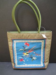 Chinese Embroidered Panel Hand Bag Tote Purse Bird Flower Butterfly NWT #Unbranded #TotesShoppers