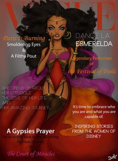 Vogue Esmeralda: These fashionable Disney princesses heat up Vogue magazine covers! Illustration by Dante Tyler