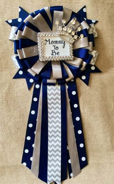 Little prince baby shower mommy to be pin - little prince corsage in navy blue, gray and silver- navy blue and gray baby shower-royal prince