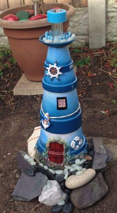 Clay pot lighthouse More dimitra kasimhWater & rocks at Best images about Terra Cotta Flower Pot Art, Clay Flower Pots, Flower Pot Crafts, Flower Pot People, Clay Pot People, Clay Pot Projects, Clay Pot Crafts, Diy Projects, Painted Clay Pots
