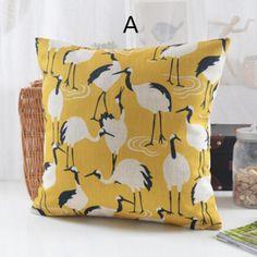 Nordic style ostrich decorative throw pillows linen bird sofa cushions