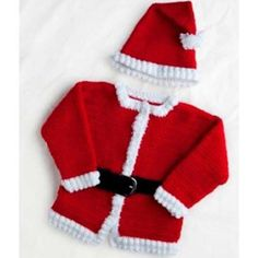 Dress your baby as Santa Claus for Christmas this year with our jolly crocheted Santa outfit. These free crochet patterns include a hat and jacket to make your child look just like Saint Nick himself! Crochet Santa, Christmas Crochet Patterns, Holiday Crochet, Crochet Bebe, Crochet For Kids, Crochet Hooks, Free Crochet, Knit Crochet, Crochet Girls