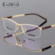a947e11d2c EAGWOO Business Eyeglasses Frame Half Rim Optical Glasses Men Eyewear Gold  Frame Glasses for Myopia Reading