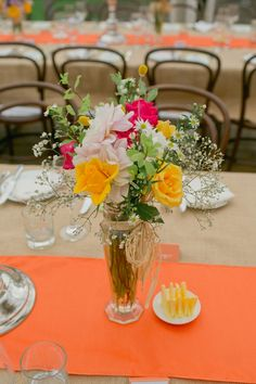 burlap table cloths and  use cerulean blue and lime green