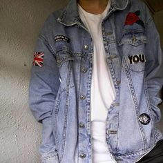 Oversized jean jacket with sassy embroidery