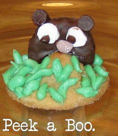 Groundhog cookie made with peanut butter cookies and hershey kisses...cute!