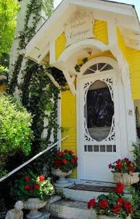 Cottage Entry Updated by Adding Vintage Screen Door !