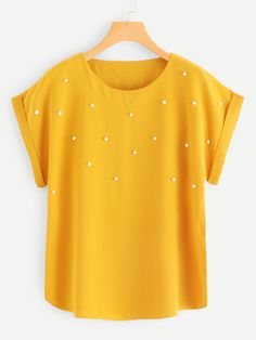 Casual Plain Top Regular Fit Round Neck Short Sleeve Roll Up Sleeve Pullovers Ginger Regular Length Pearl Beaded Cuffed Blouse - Pullover Pullover Pink, Shirt Bluse, Plain Tops, Roll Up Sleeves, Blouse Online, Ladies Dress Design, Skirt Outfits, Types Of Sleeves, Blouse Designs