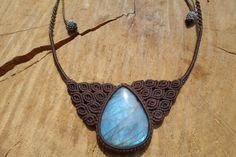 labradorite cabochonlabradorite necklacemacrame by ARTEAMANOetsy