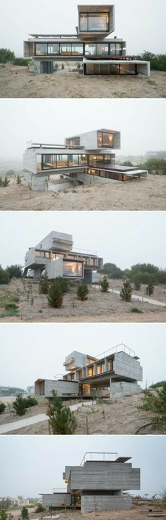 Container House - Architect Luciano Kruk designs a house made of three stacked forms of rough unfinished concrete overlooking a golf course in Argentina - Who Else Wants Simple Step-By-Step Plans To Design And Build A Container Home From Scratch? Architecture Design, Amazing Architecture, Architecture Definition, Windows Architecture, Computer Architecture, Amazing Buildings, Building Architecture, Architecture Student, Sustainable Architecture