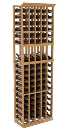 "Five Star Series: 5 Column 85 Bottle Display Wine Cellar Rack in Pine with Oak Stain +Satin Finish by Wine Racks America®. $428.57. Bottle capacity: 85 bottles (750ml). Industry 1-1/2"" toe-kick keeps your wine off the floor.. 11/16"" wood thickness. Designed for 750ml wine bottles. Some assembly required .. Choose From either Pine, Redwood, or Mahogany along with optional Industry Leading Quality Eco-Friendly Stains Paired with an Immaculate Satin Finish. Each ..."