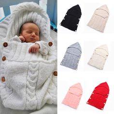 Toddler Newborn Baby Blanket Infant Soft Swaddle  Knit Crochet Wrap Sleeping Bag