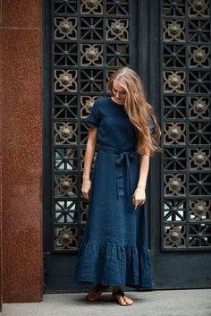 Summer Linen Dress Dark Blue Dress Summer Dress in Boho image 2 Navy Dress, Boho Dress, Linen Dresses, Blue Dresses, Loose Knit Sweaters, Merino Wool Sweater, Wool Sweaters, Cashmere Sweaters, Flax Clothing