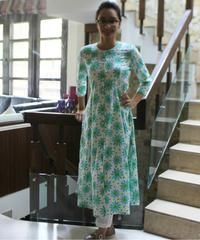 Floral Paneled Kurti with Straight Pants