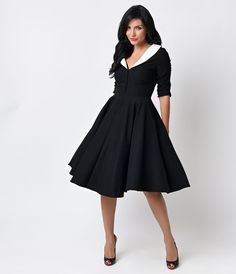 Unique Vintage 1950s Black  White Sleeved Eva Marie Swing Dress $128.00 AT vintagedancer.com
