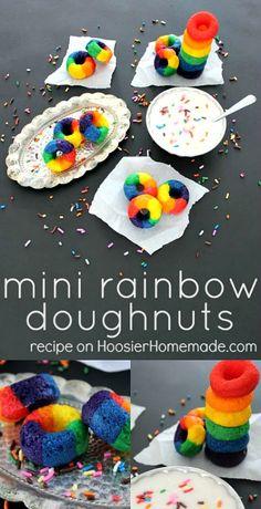 Mini Rainbow Doughnuts Recipe from Addonizio Addonizio Price Homemade Rainbow Donut, Rainbow Treats, Rainbow Food, Rainbow Desserts, Kids Rainbow, Rainbow Unicorn, Mini Donuts, Doughnuts, Baked Donuts