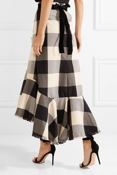Johanna Ortiz - Asymmetric Frayed Ruffled Gingham Cotton-blend Midi Skirt - Black
