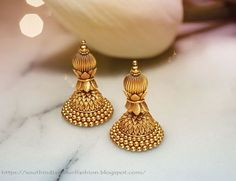 Latest Gold Jewellery Designs By Tanishq Gold Jhumka Earrings, Gold Bridal Earrings, Jewelry Design Earrings, Gold Earrings Designs, Gold Jewellery Design, Gold Jewelry, India Jewelry, Latest Gold Jewellery, Tanishq Jewellery