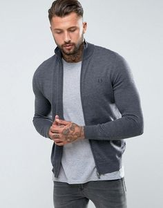 Fred Perry Merino Zip Through Sweater in Gray - Gray
