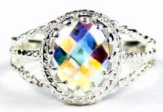 SR070-9x7mm-Mercury-Mist-Topaz-925-Sterling-Silver-Ring-Handcrafted-in-USA.  $48.53. Size 3 - 12. Size 6.25 for me