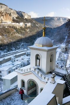 The Assumption Monastery of the Caves is located in Crimea, Ukraine, near Bakhchisaray. It is a cave monastery carved out of a cliff. Also known as the Uspensky Cave Monastery.