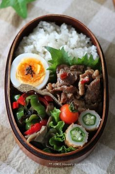 has all of my favorites! Japanese Lunch Box, Japanese Dishes, Japanese Food, Sushi, Bento Recipes, Healthy Recipes, Healthy Lunches For Work, Bento Box Lunch, Aesthetic Food