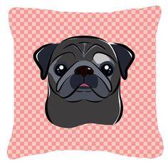 Checkerboard Black Pug Indoor/Outdoor Throw Pillow