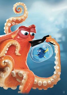 Finding Dory / Digital painting / Photoshop Hank et Dory