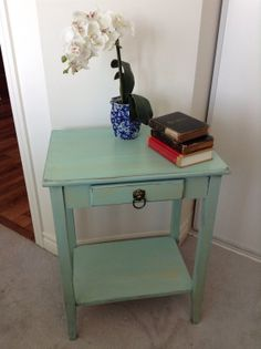 Turquoise and rosewood distressed bedside by GypsyRoseRestoration - Etsy